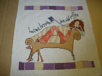 Finished Counted Cross Stitch Born To Shop Life Lessons Instant Human Add Coffee