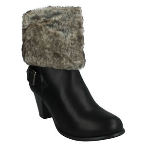 95eee70a7167 F50026 WOMENS LADIES SPOT ON FUR CUFF TRIM WINTER ZIP UP HEELED ...