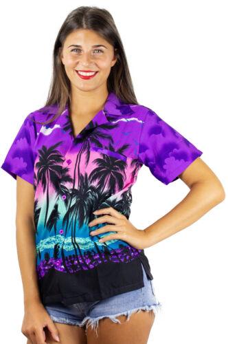 Funky Hawaii Camicia Hawaii Camicia da Donna Beach Viola UNISEX