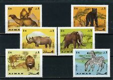 AJMAN 1969 Mi#412-417A WILD ANIMALS SET OF 6 STAMPS MNH