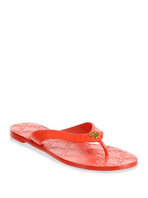 NIB Tory Burch Monroe Leather Thong Sandals shoes Exotic Red 6.5 M