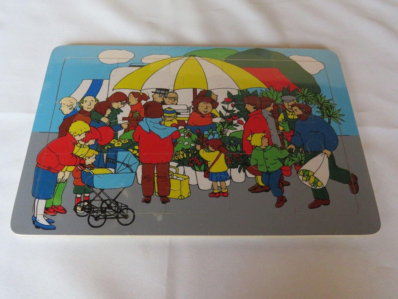 Puzzle dem Holz Holzpuzzle Rahmenpuzzle - 15 Teile - Auf dem Puzzle Markt - NEU 5735c6