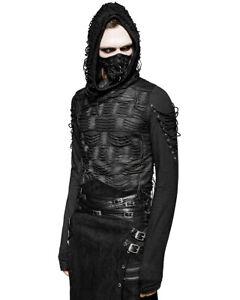Punk-Rave-decaimiento-Sudadera-Con-Capucha-Para-Hombre-Top-Negro-Punk-Goth-dieselpunk-Dystopian-Con