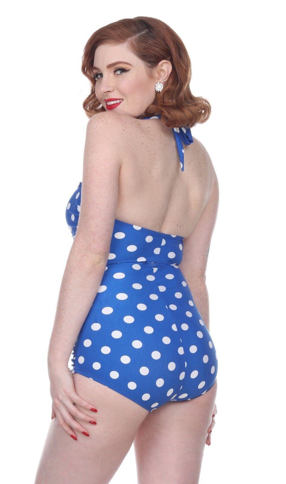 Esther Williams Williams Williams Classico Guaina Blu a Pois Pinup Costume Intero E11006 aa0307