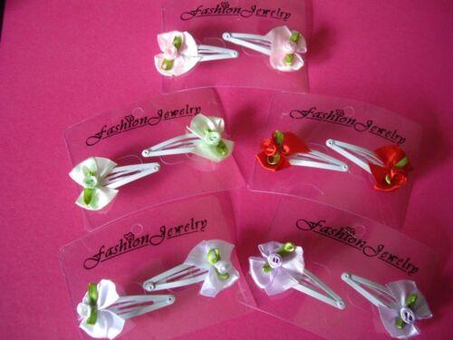 Verde Lila Rojo Clip 2 X Lazo de Satén Hair clips Rosa Blanco Boda Bautizo