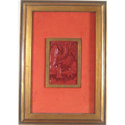"Framed Antique Asian Cinnabar Carvings 11 7/8""x17"" Each Honest Pair Of 2"