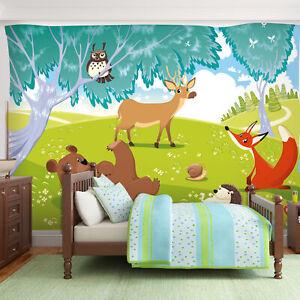 Details zu VLIES FOTOTAPETE Tiere Bear Fuchs Wald TAPETE Kinderzimmer  WANDBILDER XXL 039