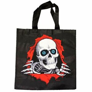 """Powell Peralta RIPPER Canvas Tote Shopping Bag BLACK LARGE 15.5""""x 15.5""""x 6"""""""