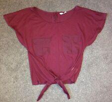 Top Tshirt Purple Size 8 Plum Tie Waist Short Sleeve Pocket Loose Fit Slouch