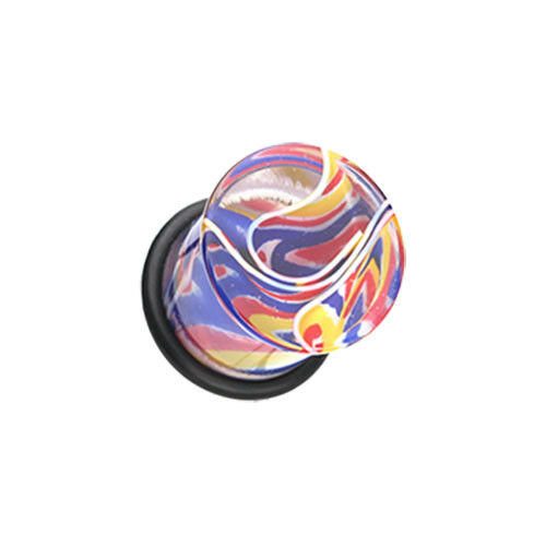 Marble Plugs Peppermint Candy Retro Single Flare O Ring Body Jewelry Blue Pink