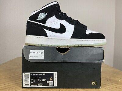 Nike Air Jordan 1 I Retro Mid Black White Panda Teal Tint Glow 6.5Y BQ6931-103   eBay