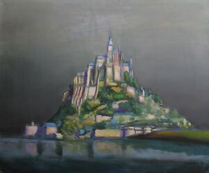 Oil-on-Canvas-Representative-the-Mount-st-Michael-Signed-and-Dated-60-Normandy