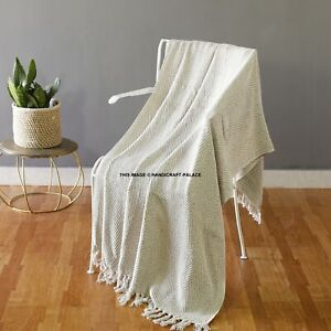 Details About 100 Cotton White Woven Herringbone Sofa Chair Bed Throw Fringed Blanket