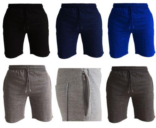 Homme Fleece Jogger Shorts avec zips taille élastique été Training Gym Short