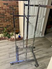 High Capacity Apparel Rolling Rack With 4 Way Height Adjustable Arms Chrome