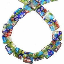 G4051L Multi-Color Mosaic 14mm Flat Square Millefiori Flower Glass Beads 14""