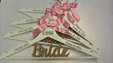 PERSONALISED WHITE WOODEN WEDDING COAT HANGER BRIDE BRIDESMAID ENGRAVED