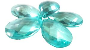 5-Light-Aqua-Diamond-Cut-38mm-Teardrop-Chandelier-Crystals-Prisms-Suncatchers