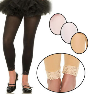 5b339590aec Girls Sizes 1-15 Kids Childrens Dance Tights Opaque Lace Trim ...