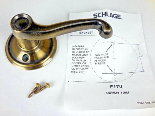 Schlage Flair Right Hand DUMMY Lever Antique Brass F170FLA609RH #7i8