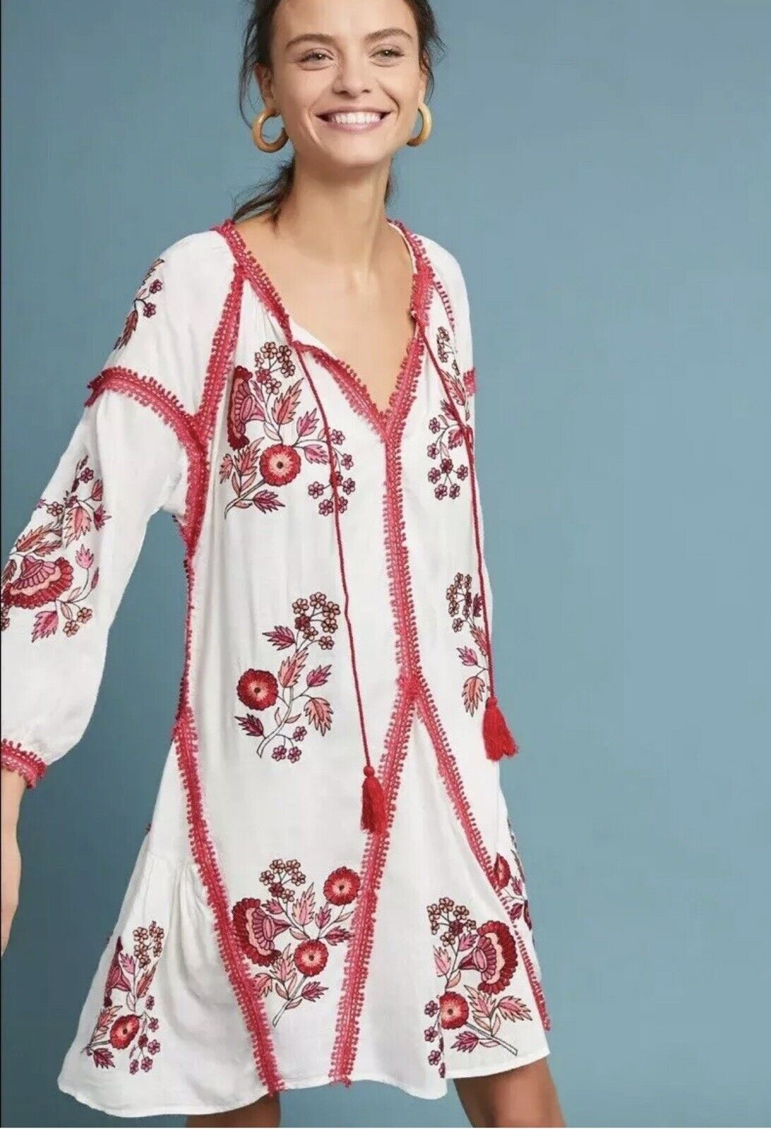 Anthropologie Ranna Gill Hadley Embroiderot Floral Weiß rot Dress Tunic XS