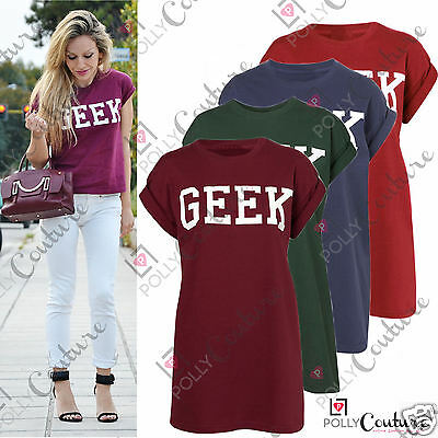 Womens Oversized GEEK Slogan Printed UK Slouchy Boxy Casual Tee Top Retro Tshirt