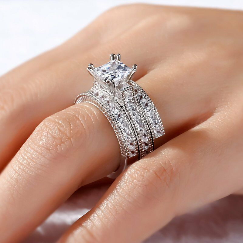 7.09Ct 3PC Princess Cut Diamond 18K White gold Over Engagement Bridal Ring Set