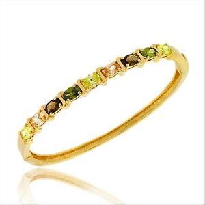 18K-Gold-over-925-Silver-Multi-Colored-CZ-S-Design-Bangle-Bracelet