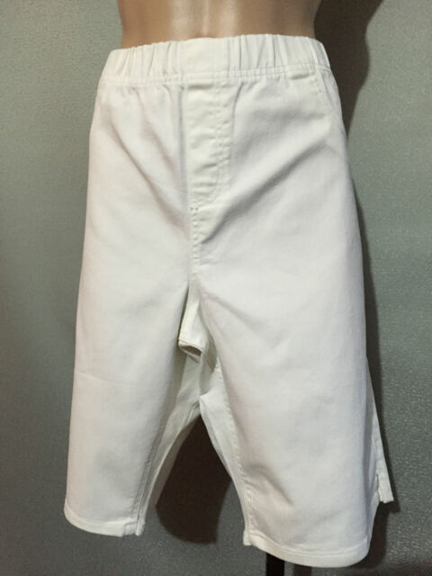 BNWT Womens Sz 22 Autograph White Stretch Denim Elastic Waist Shorts RRP $50