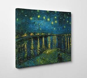Quadro Vincent Van Gogh NOTTE STELLATA SUL RODANO Stampa su Tela Poster Tavola