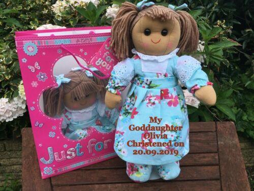 Personalised Rag Doll Goddaughter Granddaughter Christening Niece gift bag 40cm