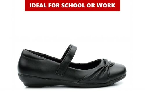 Ladies Work Shoes Girls School Shoes Womens Work Shoes Touch Fasten Strap Black