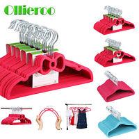 Ollieroo 30/60 Velvet Children Kid Polka Dot Shirt Pant Hanger Space Save Closet