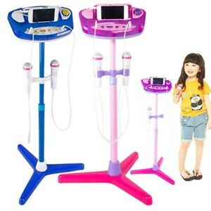 Kids-Karaoke-Machine-with-2-Microphones-Adjustable-Stand-Music-Toys-Pink-Blue