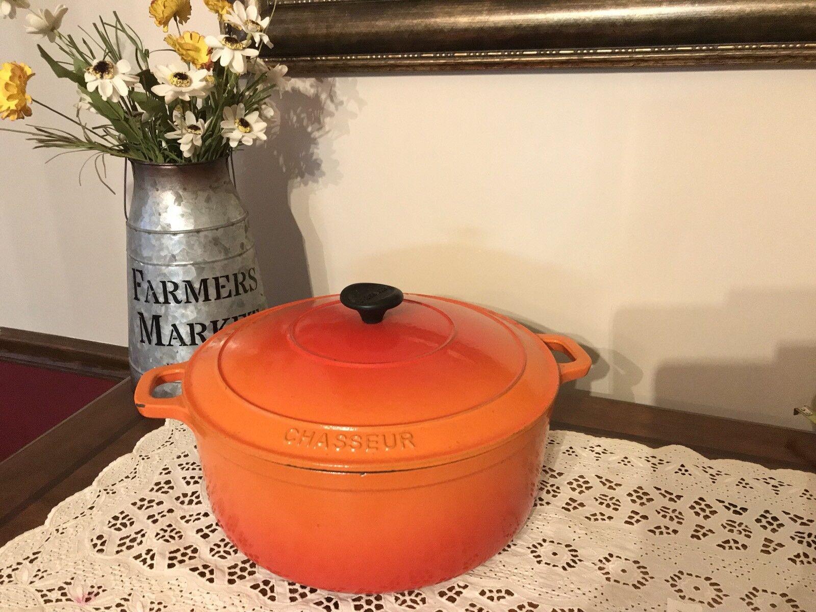 Chasseur 28cm 6.3L ronda Horno francés Naranja utensilios de cocina de hierro seguro de inducción