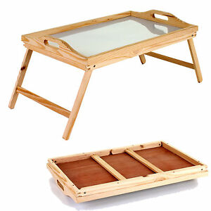 Lap Tray Wooden Frame With Folding Legs Wipe Clean Surface