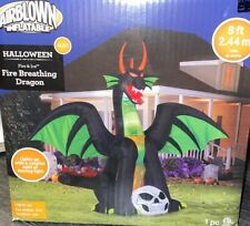 7 Foot Wide Inflatable Halloween Dragon Fire Breathing Look