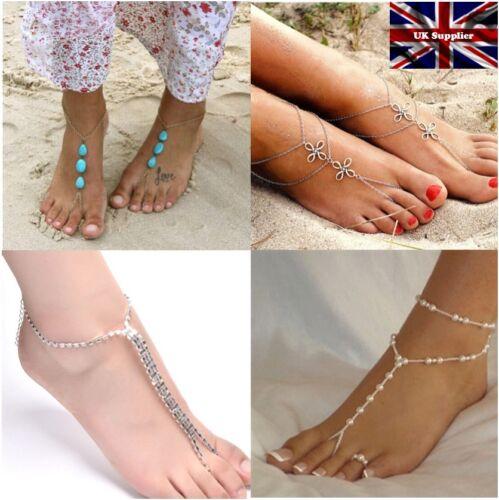 Bridal//Wedding Holiday Jewellery Diamante Turquoise PAIR Barefoot Beach Sandals