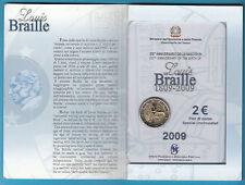 2 EURO COMMEMORATIVO ITALIA 2009 200° Nscita Braille in Folder CONFEZIONE ZECCA