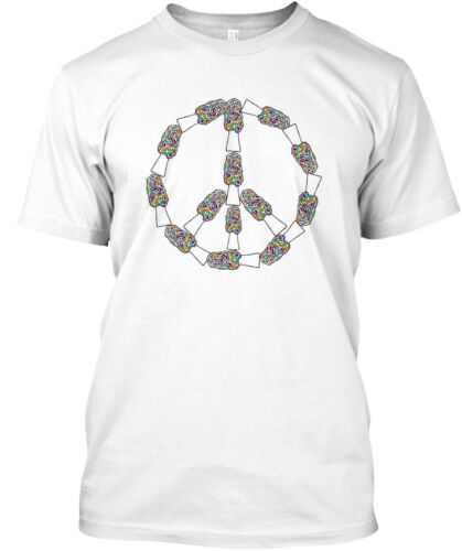 Peace Sign Color Morel Mushroom Hanes Tagless Tee T-Shirt
