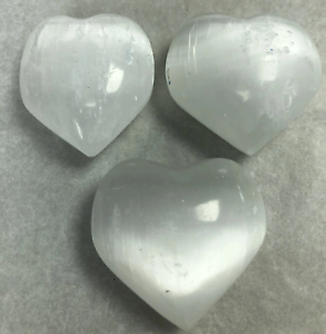 "2"" Selenite Heart Crystal Quartz Natural Stone ( 3 Pieces )"