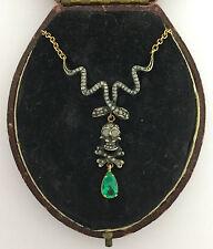A Unique Memento Mori Skull & Snake Rose Cut Diamond & Emerald Pendant Cr 1800's