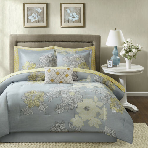BEAUTIFUL CONTEMPORARY CHIC GREY SILVER YELLOW FLOWER COMFORTER SET & SHEETS