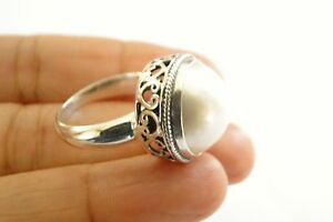 White-Mabe-Pearl-Solitaire-Ornate-Edged-925-Sterling-Silver-Ring-Size-6-7-5-8-9