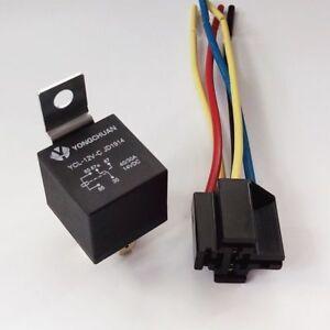 12cm-Auto-LKW-Automobilrelais-40A-12V-DC-SPST-Relais-5-Pin-amp-Socket-4-Draehte