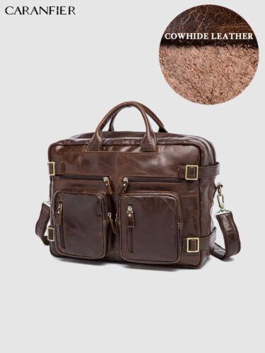 CARANFIER Men Briefcase Genuine Leather Laptop Business Vintage Messenger Bag