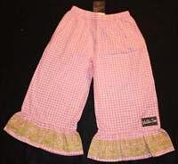 Matilda Jane Platinum Pink White Checkered Gingham Cropped Ruffle Pants 8 Yr