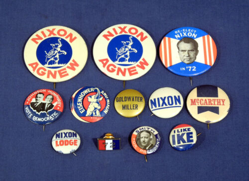 12 Political Pin Pinback Buttons Nixon Ike Smith Goldwater Johnson etc President