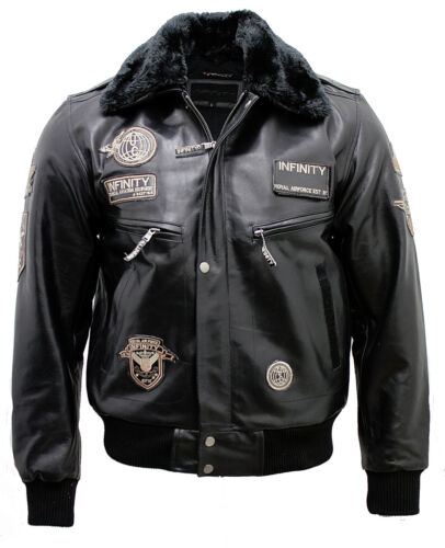 Men/'s Black Leather US Air Force Flying Bomber Jacket with Detachable Collar