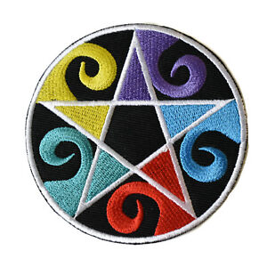 Pentagram-Iron-On-Patch-Embroidered-Colourful-Wiccan-Wicca-Witch-Gothic-Pentacle